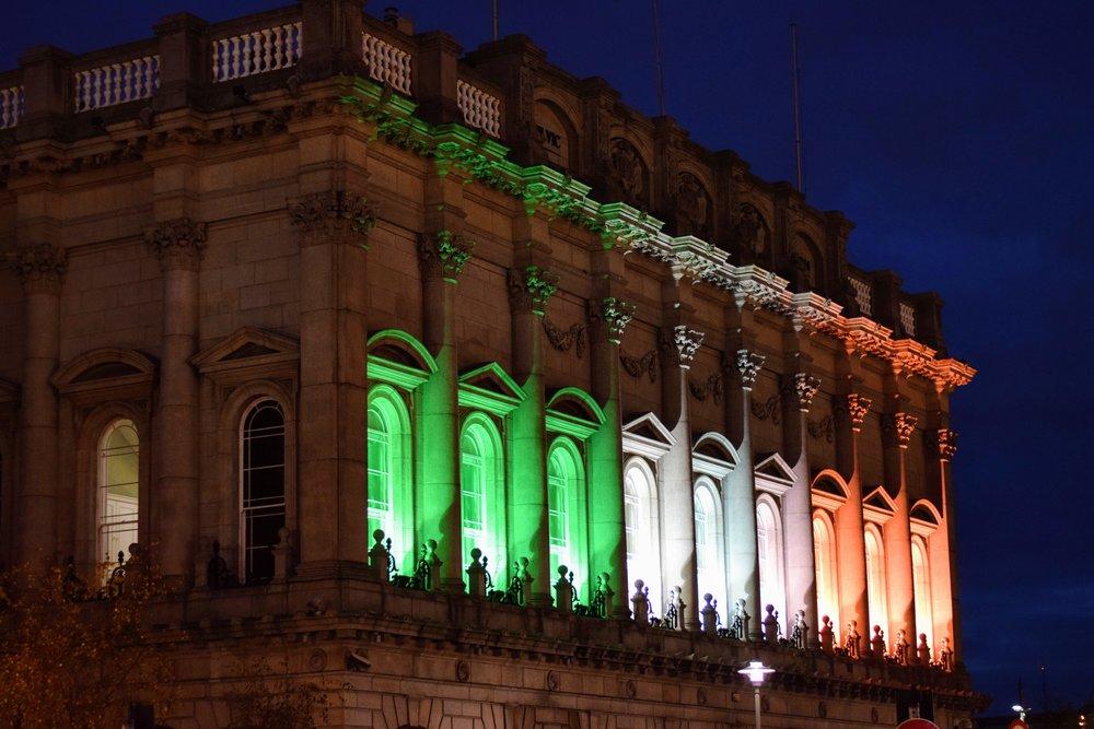 Lights illuminating the colors of Irish flag (Nikon D3300,50mm,f/2, 1/60 sec, ISO 800)