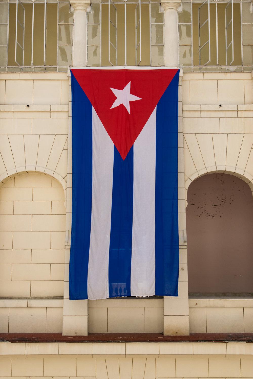 Cuban flag at Museo de la Revolucion.  (Nikon D3300, Nikon, NIKKOR 17-35mm f/2.8D @ 25mm,f/9, 1/320 sec, ISO 200)