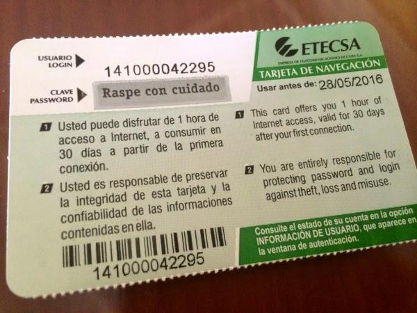 1 Hour Prepaid ETECSA Wifi Card