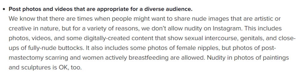 Excerpt from Instagram's Community Guidelines.