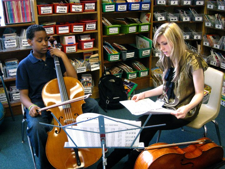 Teaching with Seattle Music Partners at Leschi Elementary School in Seattle, WA.