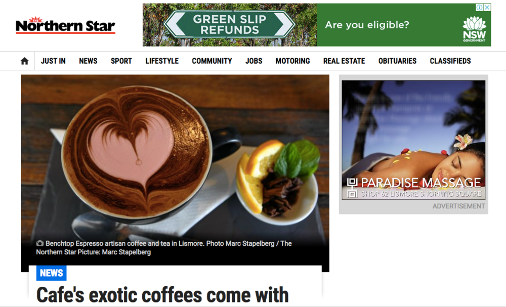 Cafe's exotic coffees come with the Lismore heart - Northern Star; 23rd of June 2017