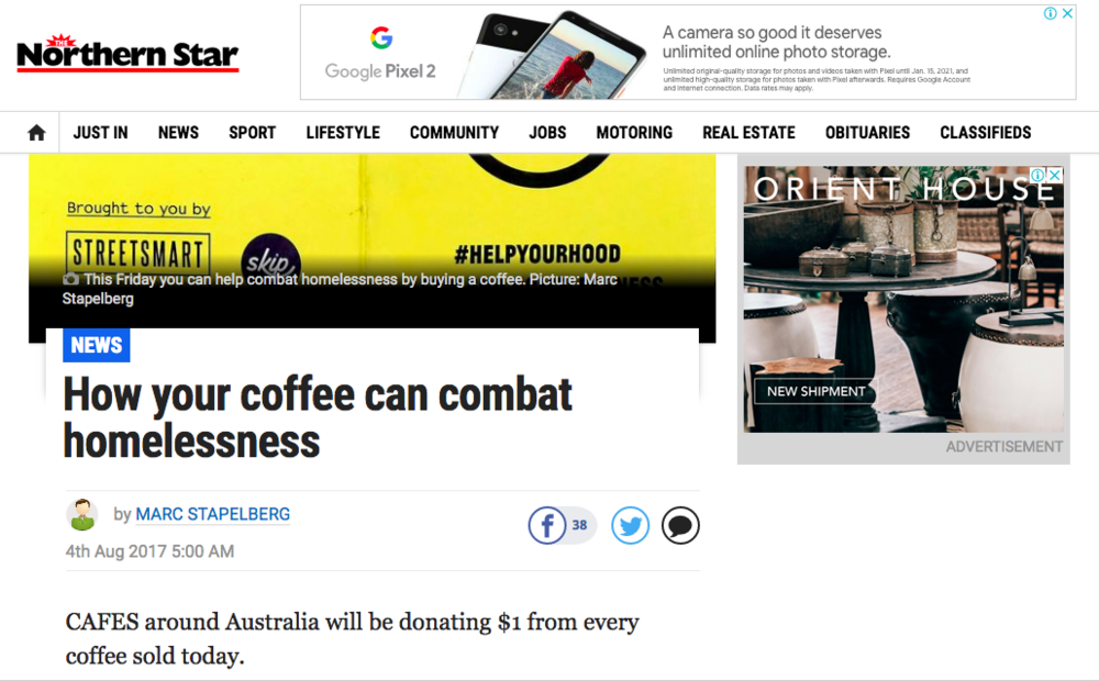 How your coffee can combat homelessness - Northern Star; 4th of August 2017