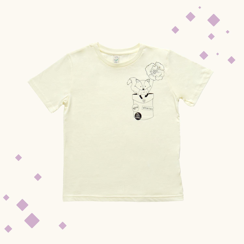 c2f7a1402 Fox in Pocket Kids T-shirt - Ecru — Uncaptive