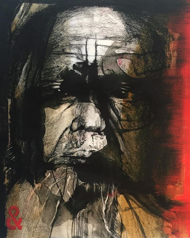 Old Man.  #art #artforsale #artistsoninstagram #photoshop #colour #collage #portraits #portraitphotography #portraitpage #portraitmood #charchol #charcholdrawing #ink #mixedmedia #mood