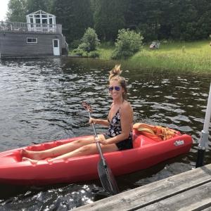 Peacefully kayaking on the lake.