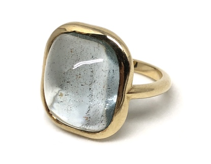 Aquamarine Cab Gemstone Ring  Photo: Robyn Gross
