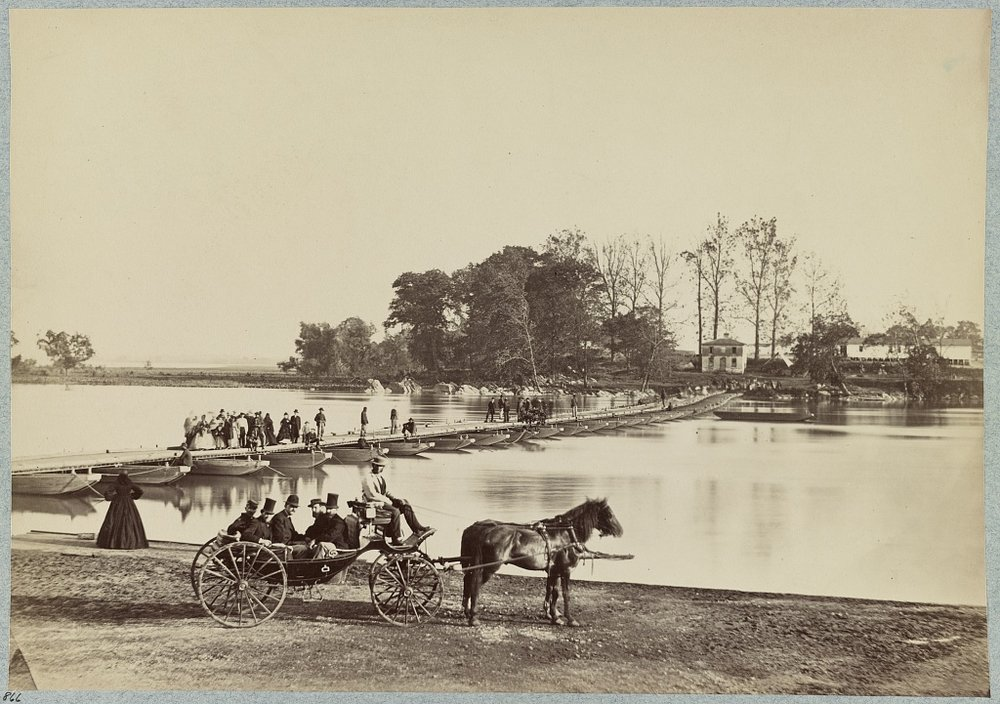 Pontoon bridge to THE ISLAND in 1865. Matthew Brady photo