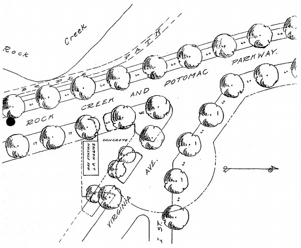 Higgins Service Station landscape architecture plan.  National Archives  image
