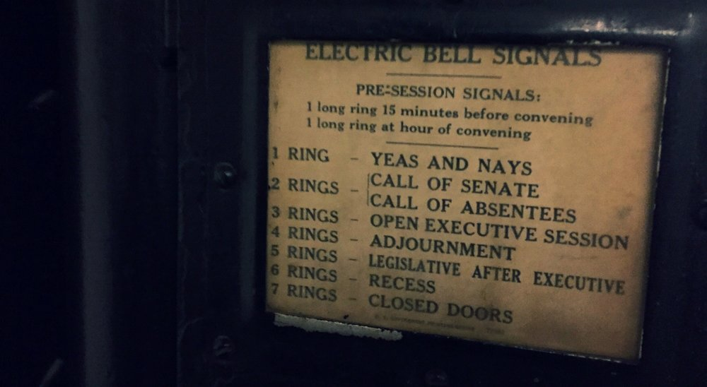 Electric bell cheat sheet in the Russell Senate Office Building. Elliot Carter photo