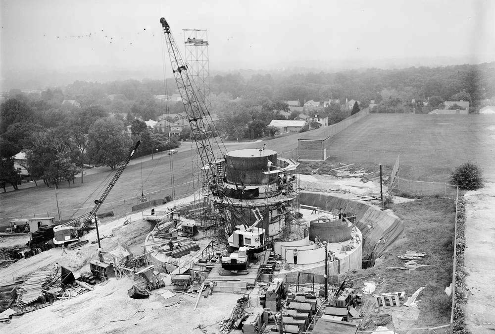Construction viewed from nearby watertower. JFK PRESIDENTIAL LIBRARY PHOTO