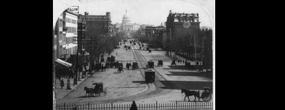Streetcars on Pennsylvania Avenue circa 1880.  Library of Congress  photo