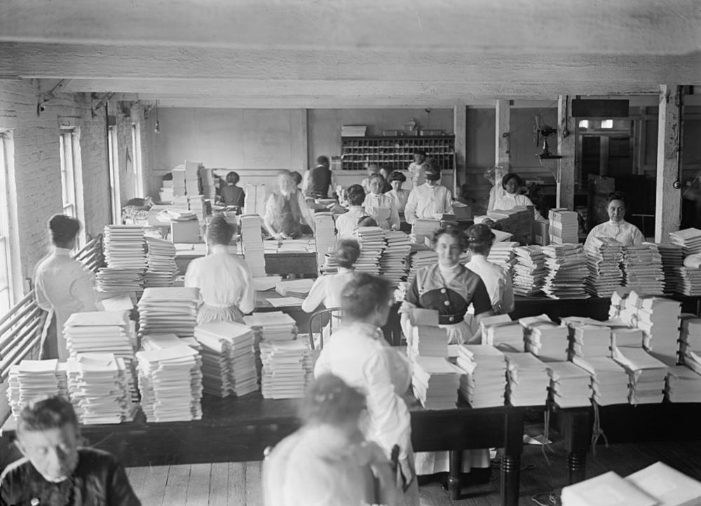 Sorting circa 1912.  Library of Congress  image