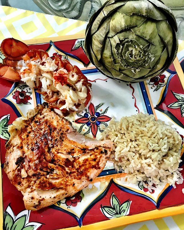 When the wifey spoils the family because its #fathersday #winning #mywifeisbetterthanyours #salmon #lobstertail #artichoke