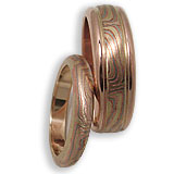 Mokume Gane Wedding Band Set