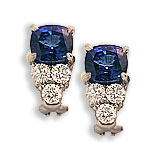 Platinum, Saphire and Diamond Earrings