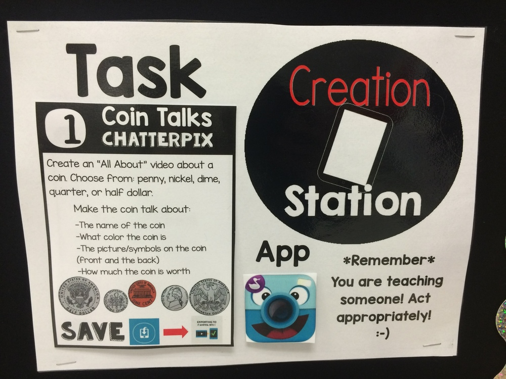 How do students know what to create? They are given a task card to use. This visual helps my students see what their current project is as well as what app they use to create with.