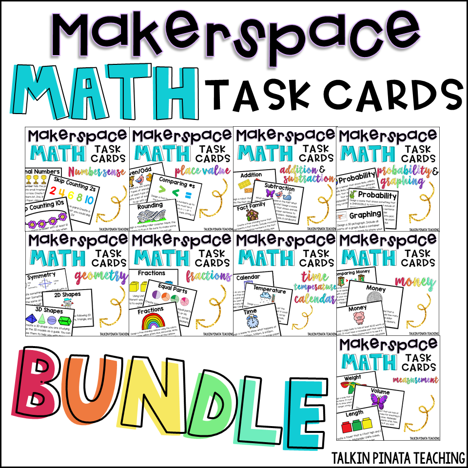 If you're interested in Makerspace challenges that directly relate to math curriculum, click here to check out my bundle of task cards on TPT!