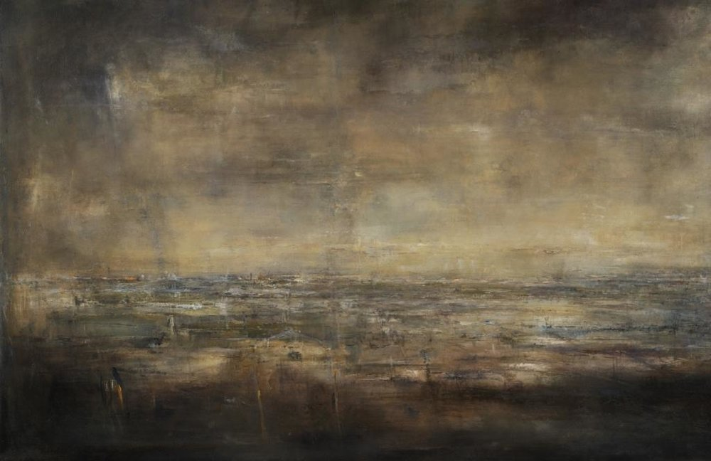 Darkened light 2016,  Öl auf Leinwand 158x101cm