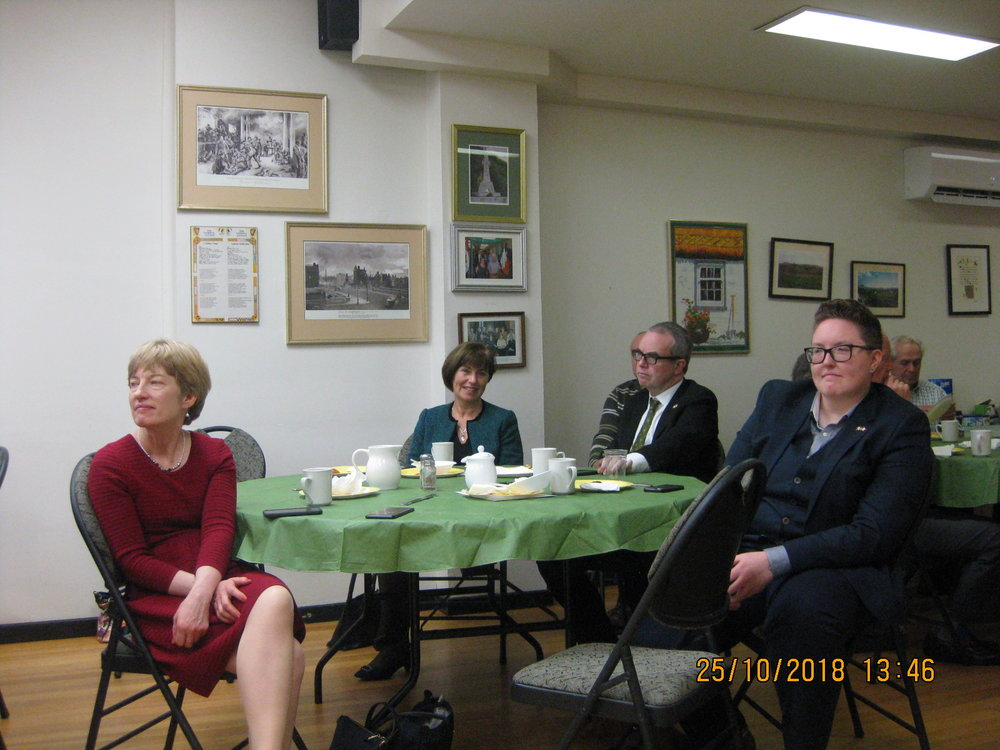 Also in attendance were:  from left, Anne Griffin, Private Secretary to Minister Cannon, Ann Derwin, Director General   , Global Irish Services Division, H. E. Jim Kelly, Ambassador of Ireland and Laura Findlay, Second Secretary, Embassy of Ireland.