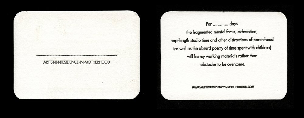 Letterpress Artist Residency in Motherhood Customisable Business Cards
