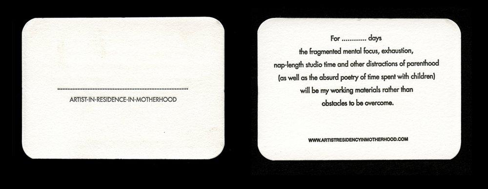 Letterpress Artist Residency in Motherhood Customisable Business Cards