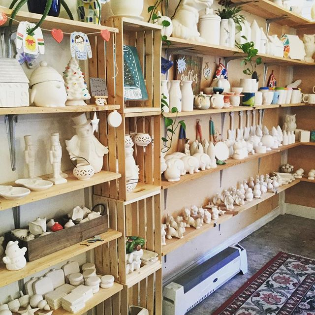 Full shelves ready to be made into Christmas gifts! Last day to paint for Christmas is the 21st. Family special 16 oz mugs for $10 and flat ornaments 2 for $10. Come in today and make lasting memories!!
