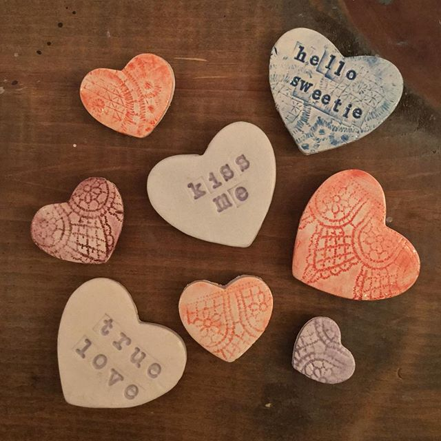 Get ready for Valentines Day with handmade hearts! Surprise your loved ones with sweet messages and handmade gifts. Only $20 for clay (makes 4 hearts).