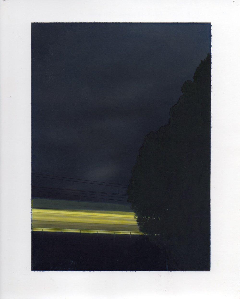 "3-16-12, P.M.  54"" X 42"" Oil on silver gelatin print 2013"