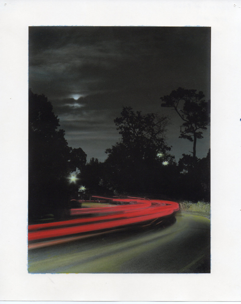 "4-6-12, P.M.  36"" X 28"" Oil on silver gelatin print 2013"