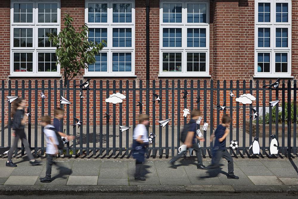 Pupils arriving at Cromer Road Primary School