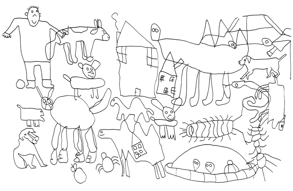 Page of children's drawings.