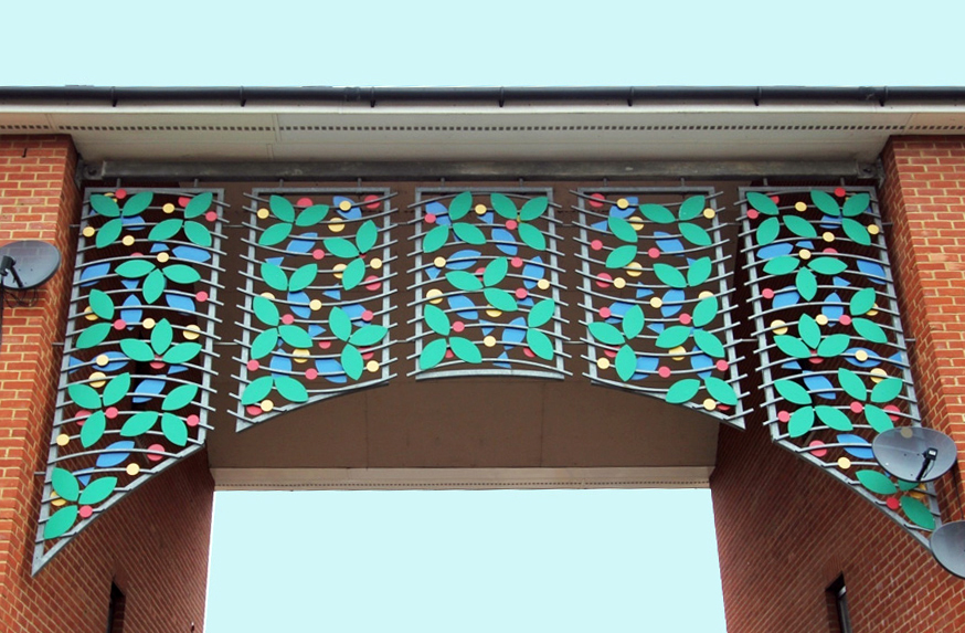 Galvanised steel frames with coloured powder coated motifs.