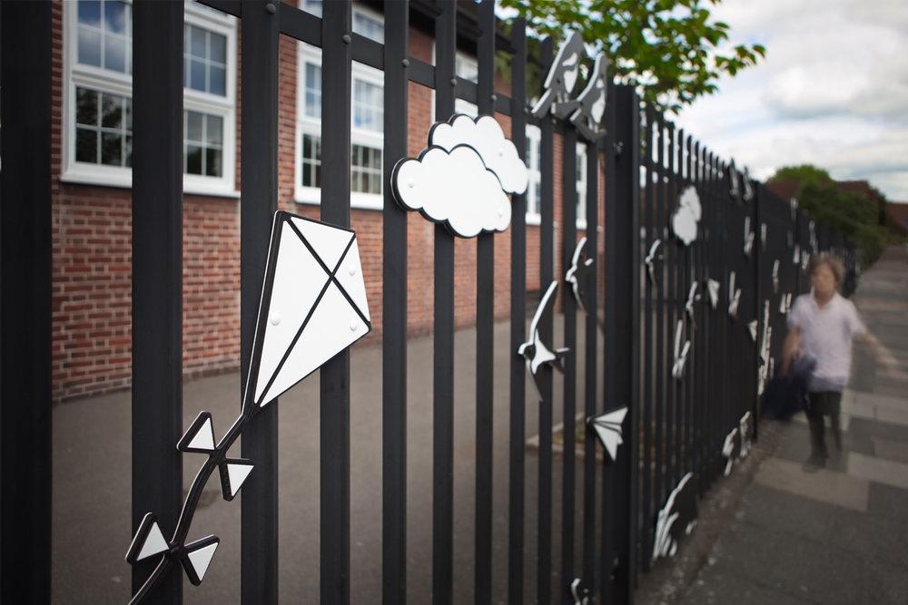 Detail of Cromer Road Primary School railings.