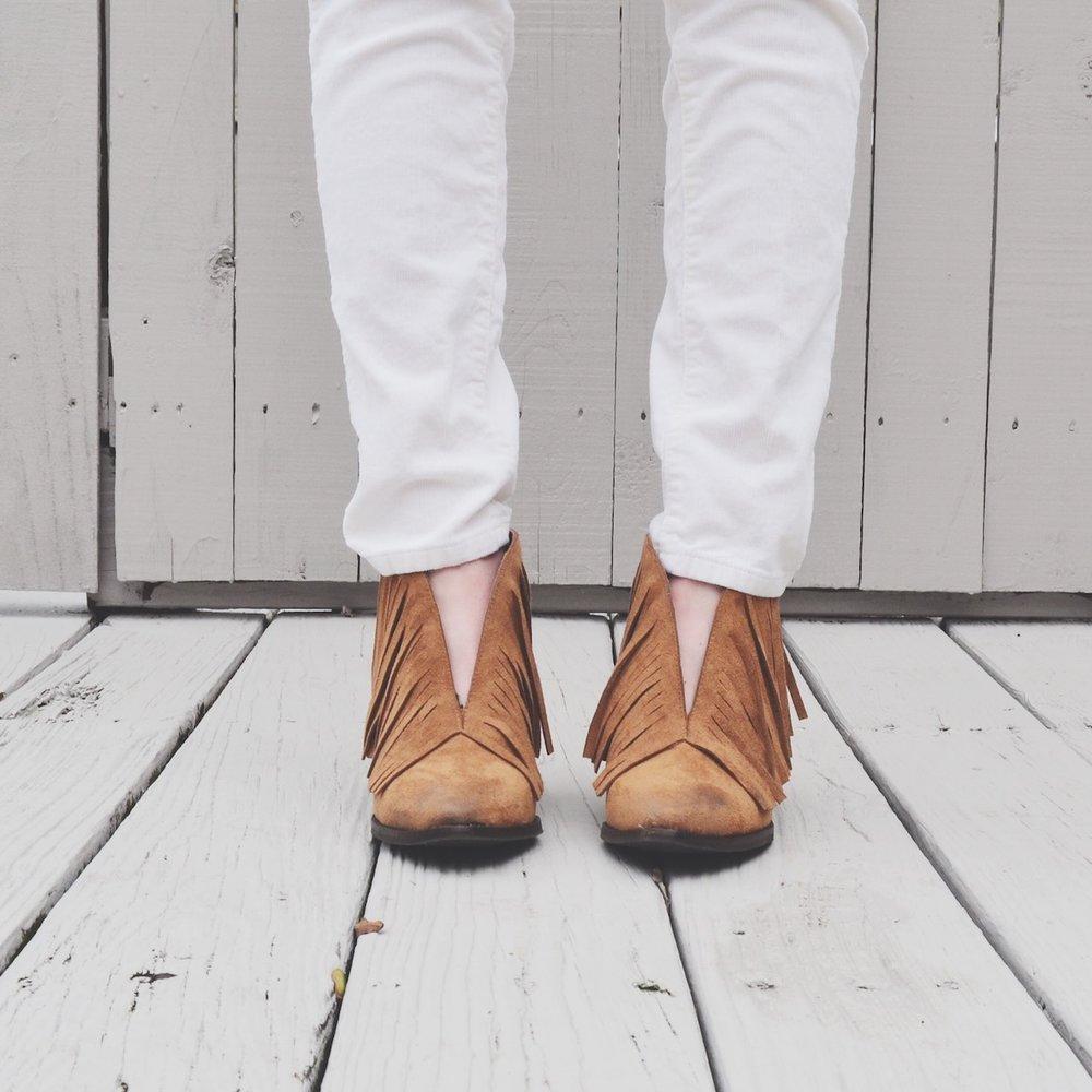 Coconut matisse fringe boots