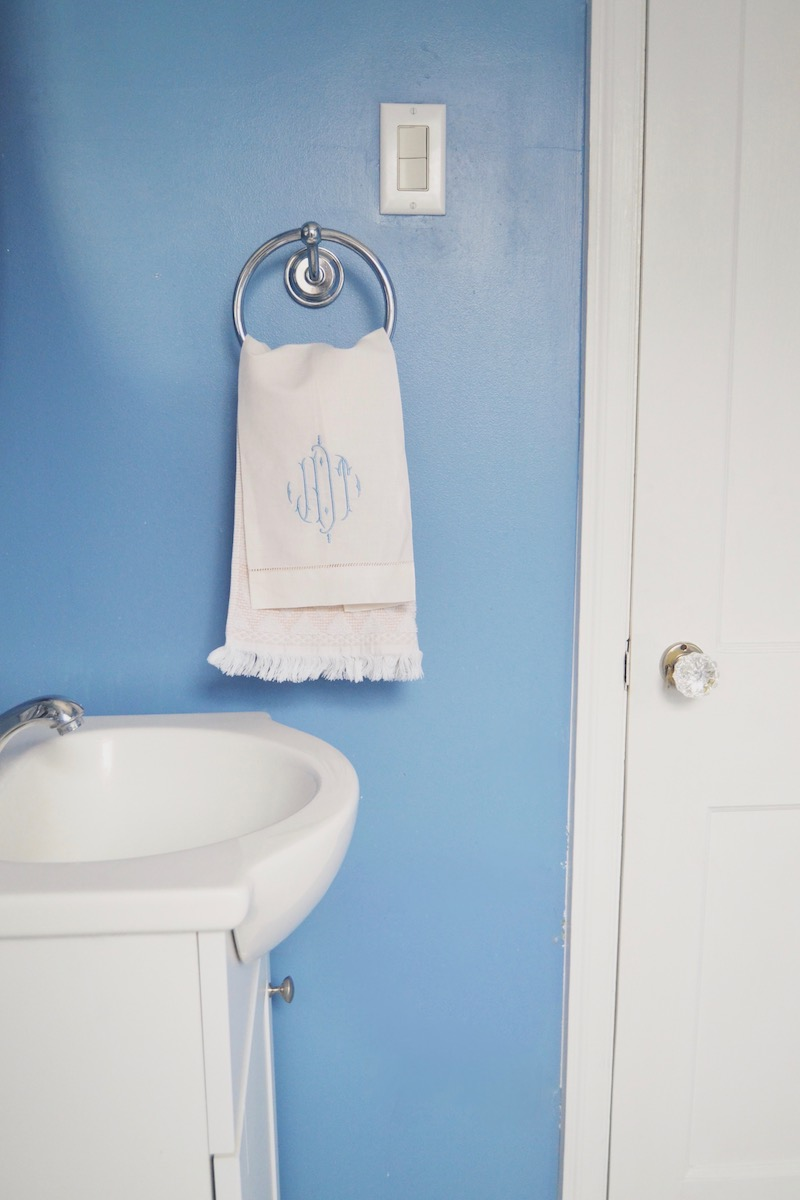 bright blue powder room
