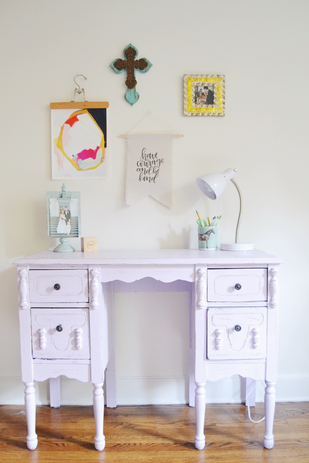 gallery-wall-purple-antique-desk