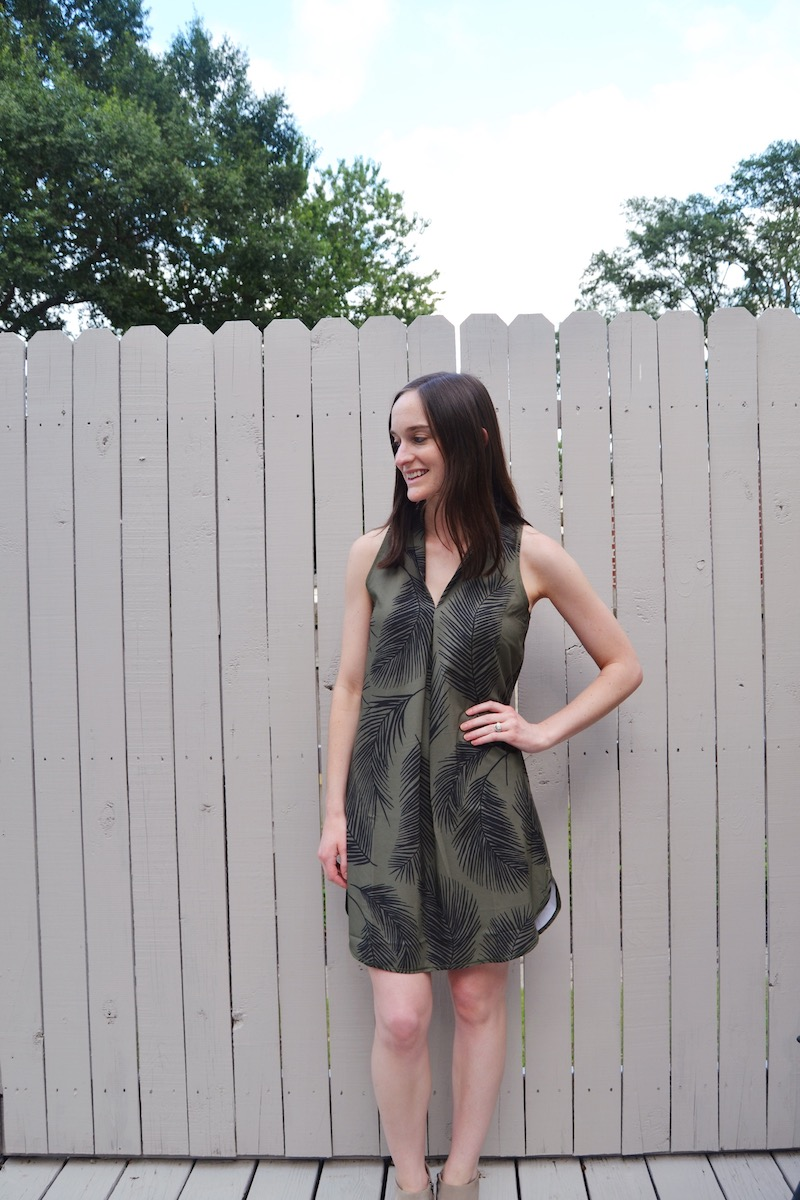 green-palm-print-dress