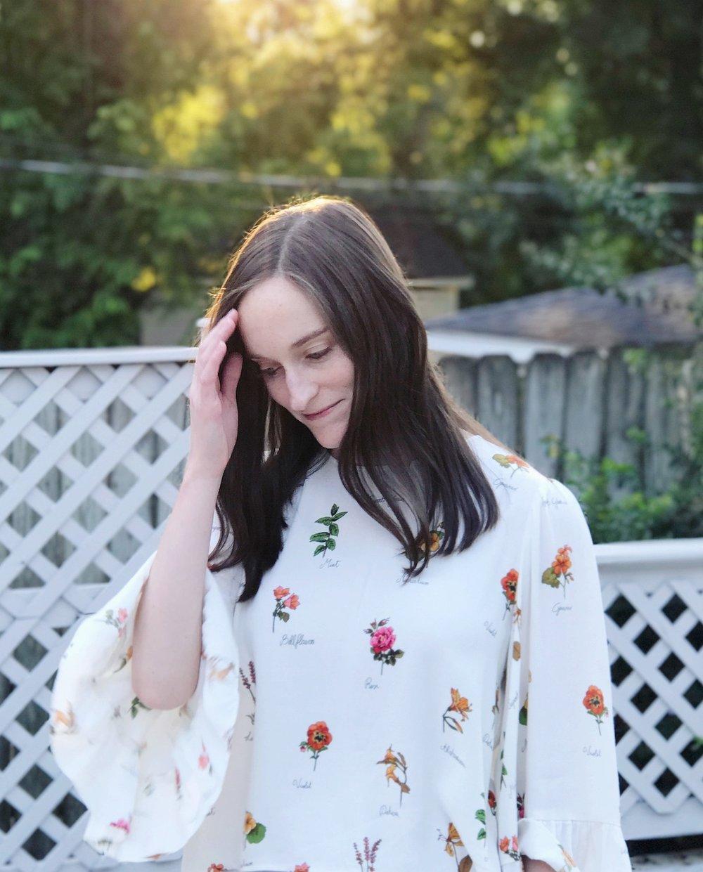 zara floral bell sleeve shirt.JPG
