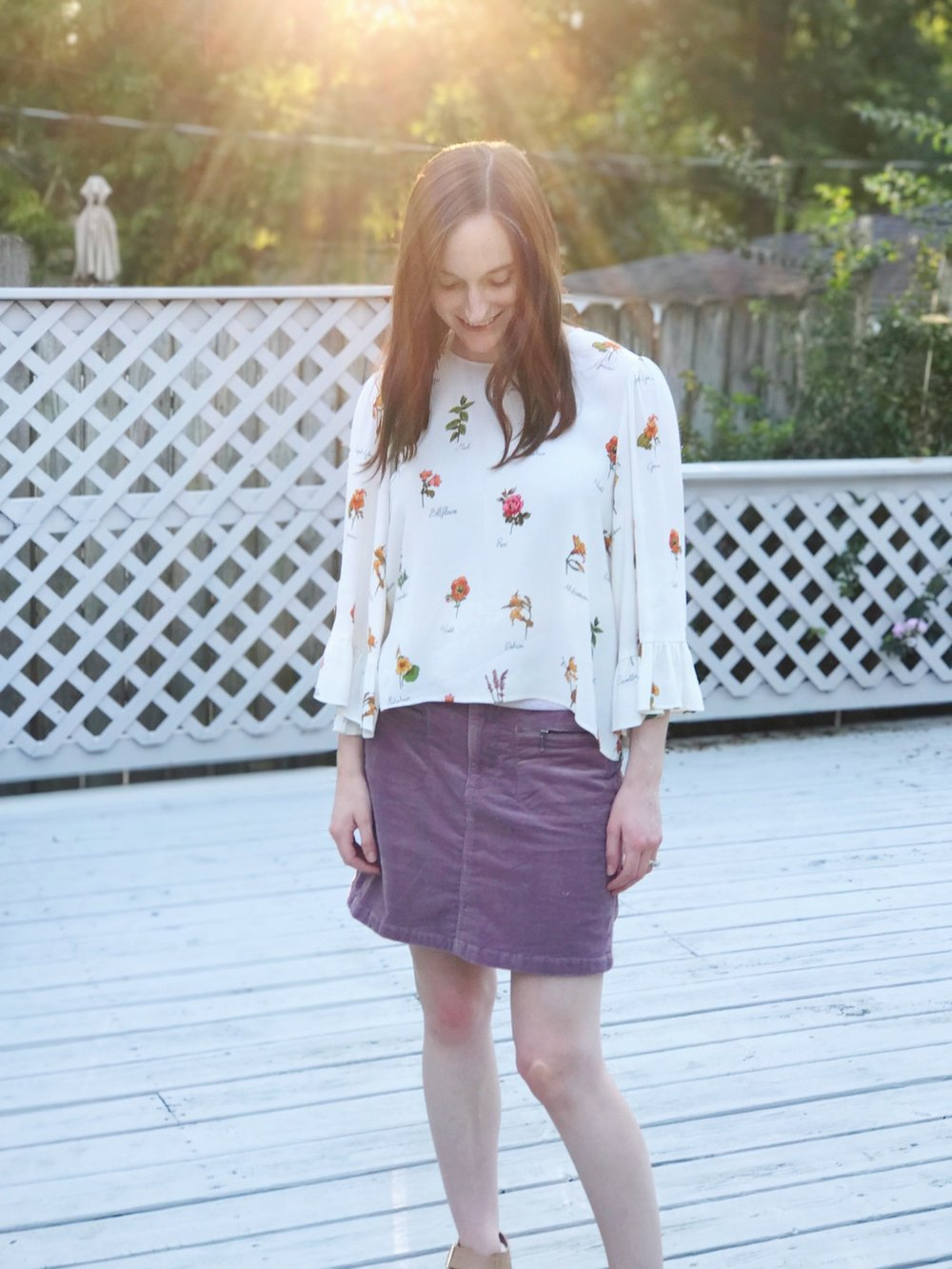 zara floral blouse purple cord skirt.JPG