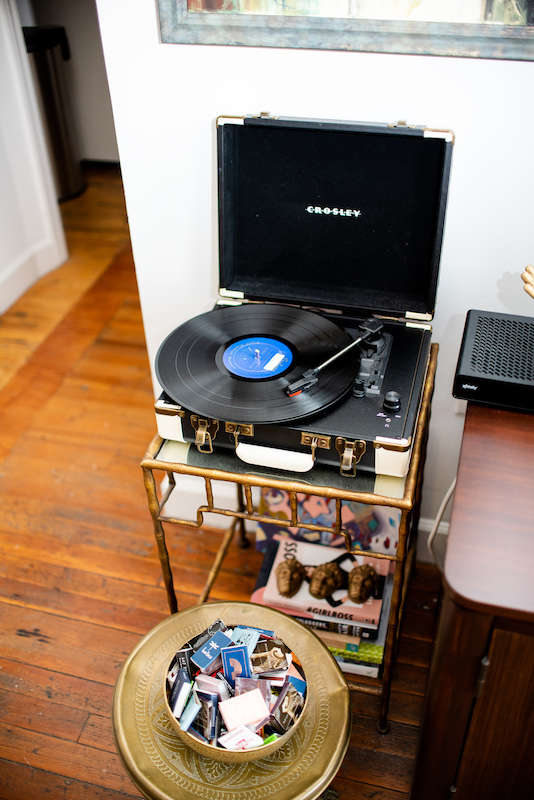 Record player and matchbox collection