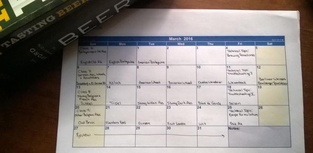 My March study calendar