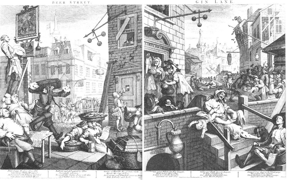 Beer Street and Gin Lane by William Hogarth are two of my absolute favorite prints. Also a pretty accurate depiction of me drinking beer compared to liquor.