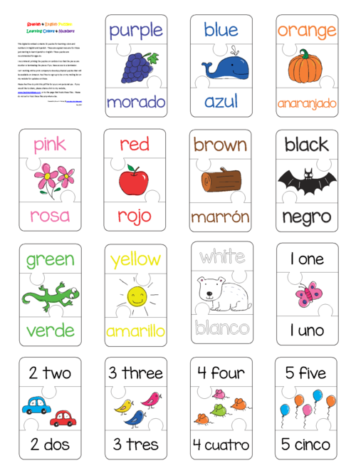 Spanish And English Puzzles Colors Numbers PDF