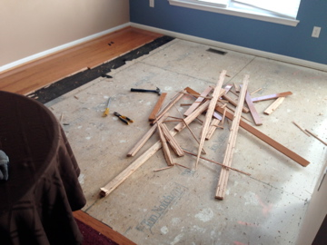 Hardwood floor removal