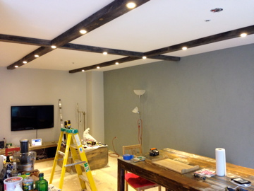 Wooden rustic ceiling beams