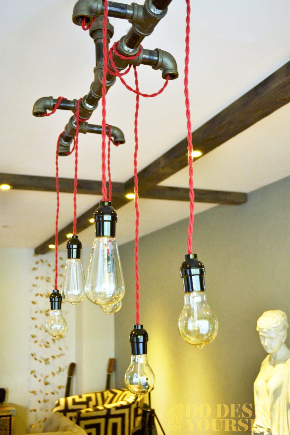 Black piping light fixture