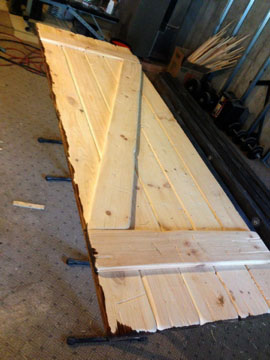 Barn door staining