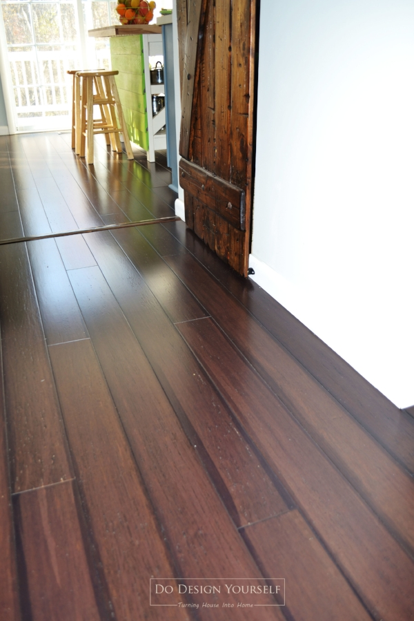 Dark Bamboo Lumber Liquidators flooring. A great alternative to a hardwood flooring. Antique Peking color.