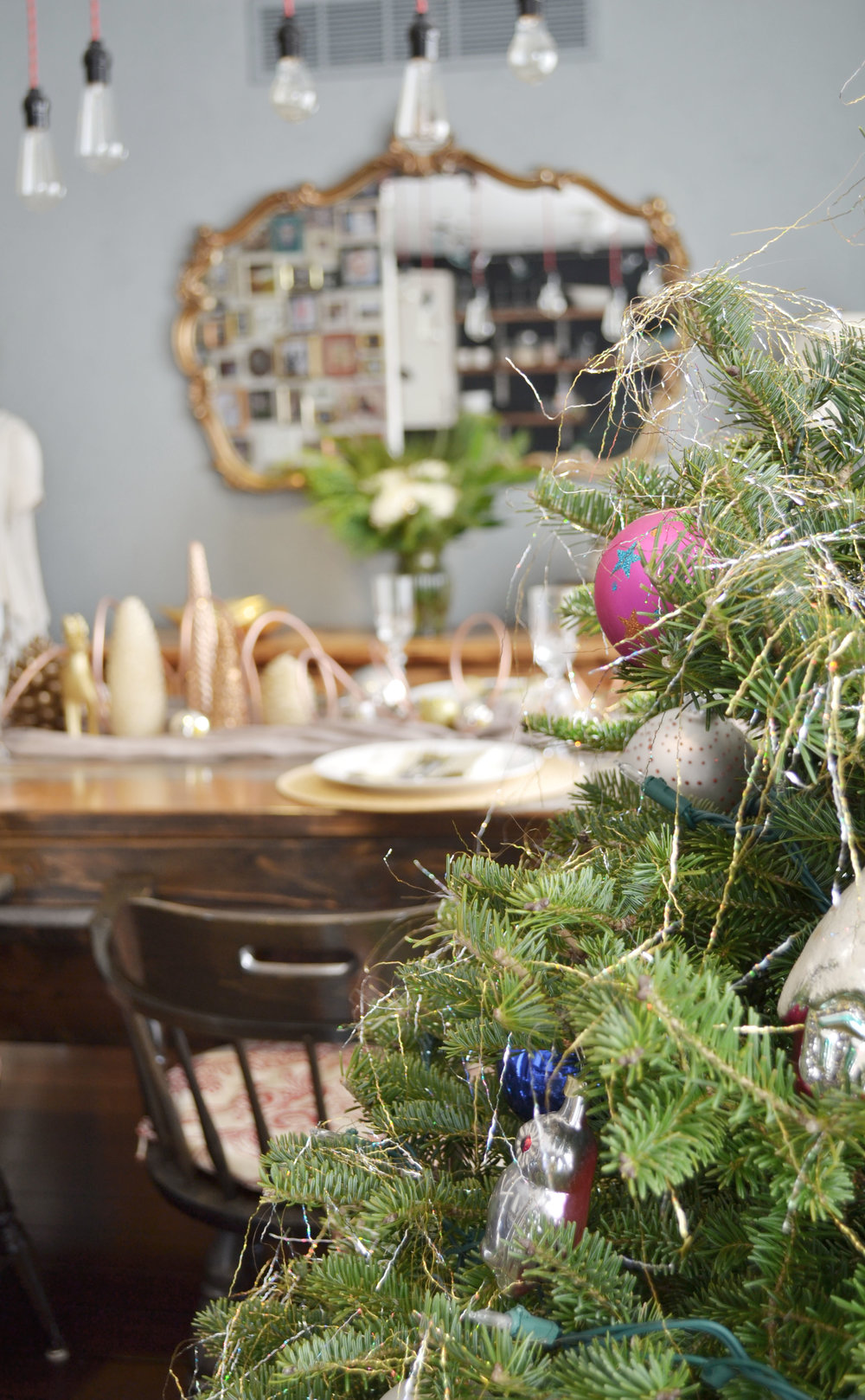 mixed metal - gold, silver, copper Christmas table decor.